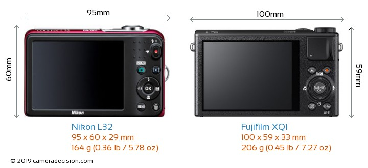 Nikon L32 vs Fujifilm XQ1 Camera Size Comparison - Back View