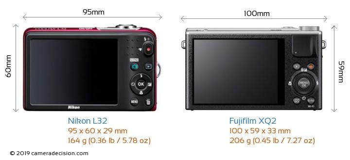 Nikon L32 vs Fujifilm XQ2 Camera Size Comparison - Back View