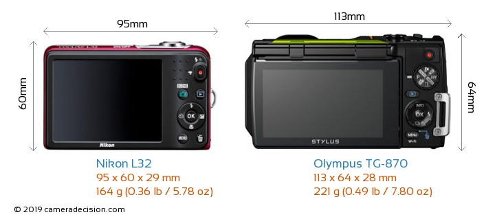 Nikon L32 vs Olympus TG-870 Camera Size Comparison - Back View