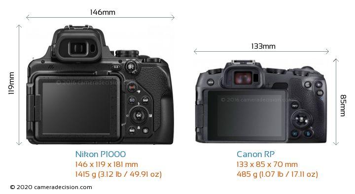 Nikon P1000 vs Canon RP Camera Size Comparison - Back View