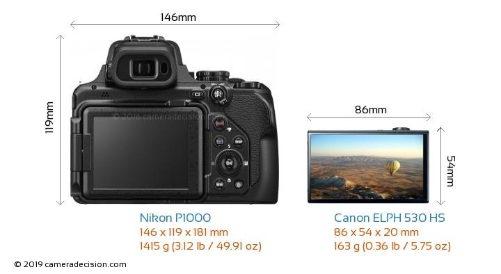 Nikon P1000 vs Canon ELPH 530 HS Camera Size Comparison - Back View