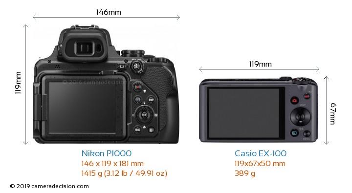Nikon P1000 vs Casio EX-100 Camera Size Comparison - Back View