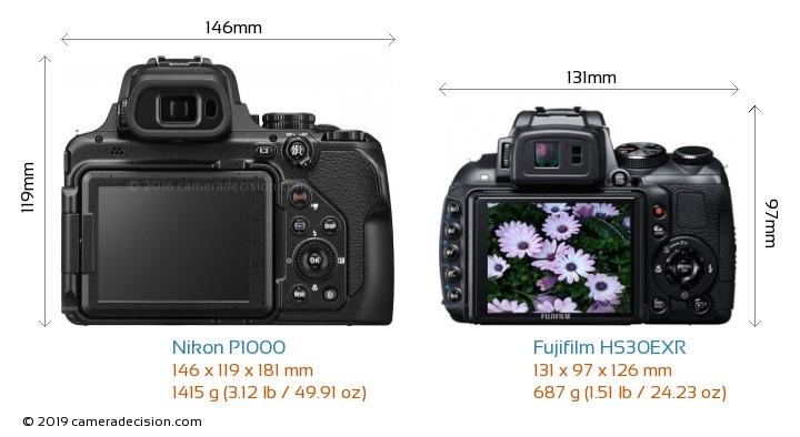 Nikon P1000 vs Fujifilm HS30EXR Camera Size Comparison - Back View