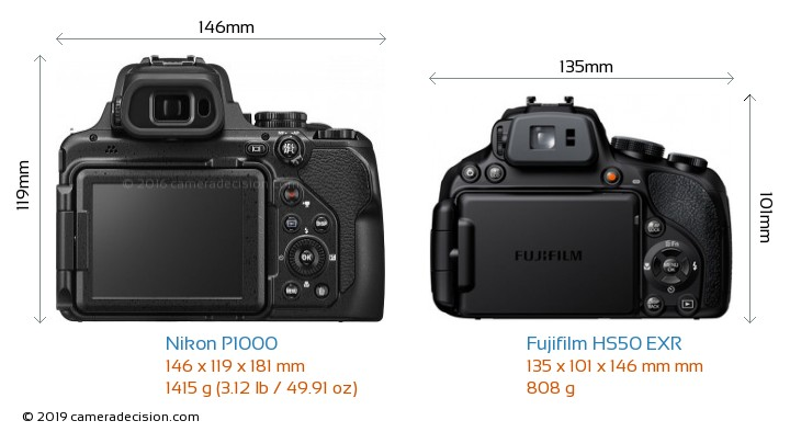 Nikon P1000 vs Fujifilm HS50 EXR Camera Size Comparison - Back View