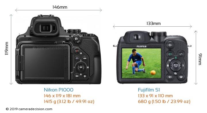Nikon P1000 vs Fujifilm S1 Camera Size Comparison - Back View