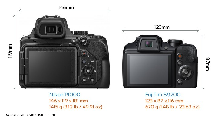 Nikon P1000 vs Fujifilm S9200 Camera Size Comparison - Back View