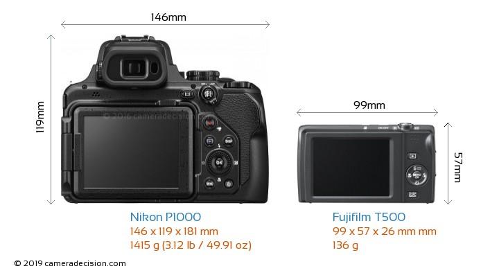 Nikon P1000 vs Fujifilm T500 Camera Size Comparison - Back View