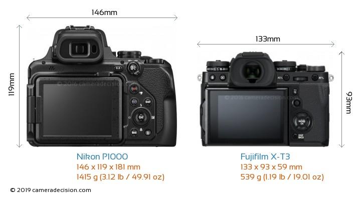 Nikon P1000 vs Fujifilm X-T3 Camera Size Comparison - Back View