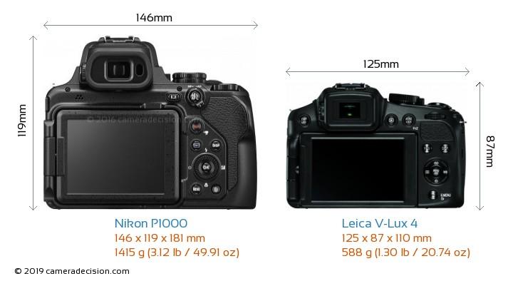 Nikon P1000 vs Leica V-Lux 4 Camera Size Comparison - Back View