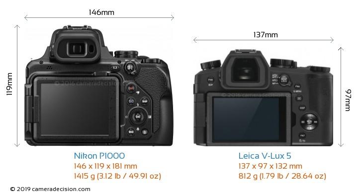 Nikon P1000 vs Leica V-Lux 5 Camera Size Comparison - Back View