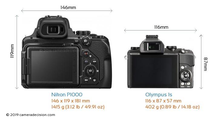 Nikon P1000 vs Olympus 1s Camera Size Comparison - Back View