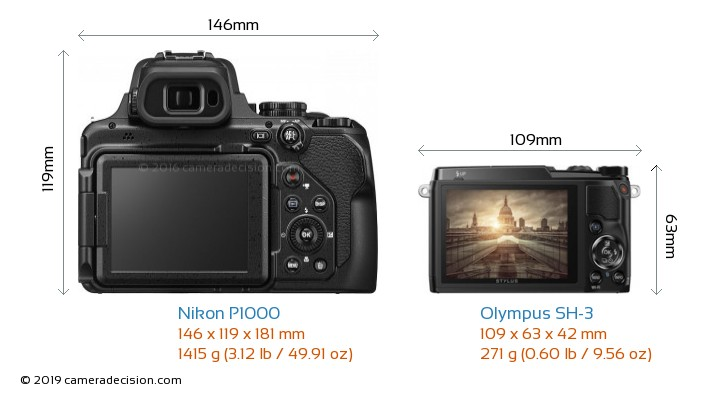 Nikon P1000 vs Olympus SH-3 Camera Size Comparison - Back View