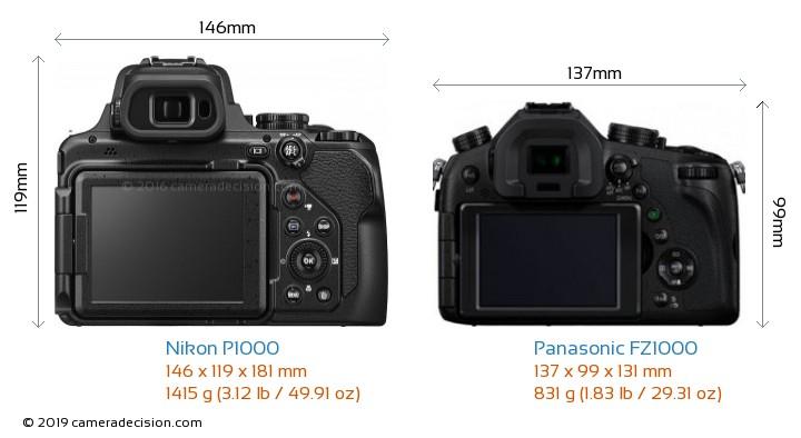 Nikon P1000 vs Panasonic FZ1000 Camera Size Comparison - Back View