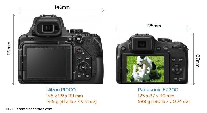 Nikon P1000 vs Panasonic FZ200 Camera Size Comparison - Back View