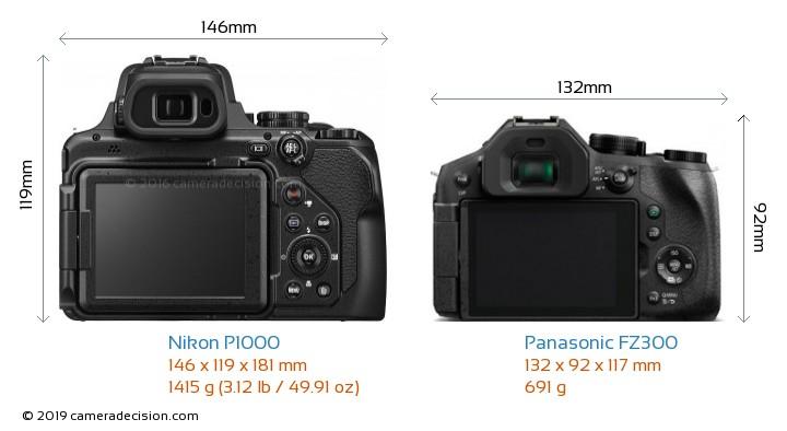 Nikon P1000 vs Panasonic FZ300 Camera Size Comparison - Back View