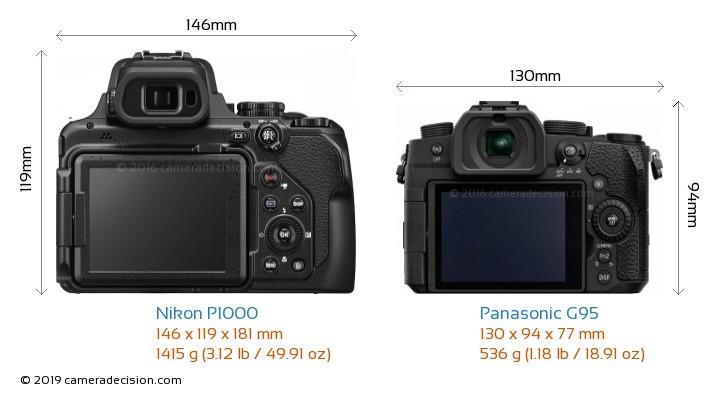 Nikon P1000 vs Panasonic G95 Camera Size Comparison - Back View