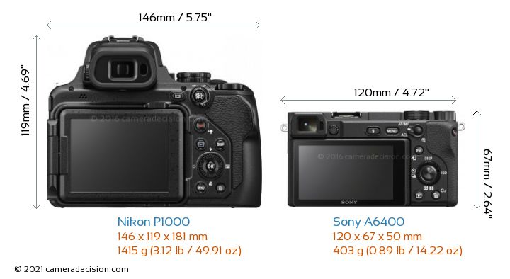 Nikon P1000 vs Sony A6400 Camera Size Comparison - Back View