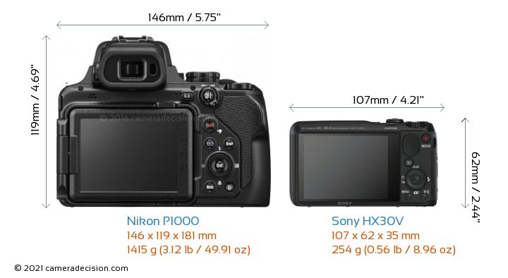 Nikon P1000 vs Sony HX30V Camera Size Comparison - Back View