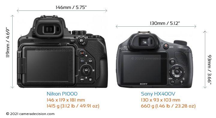 Nikon P1000 vs Sony HX400V Camera Size Comparison - Back View