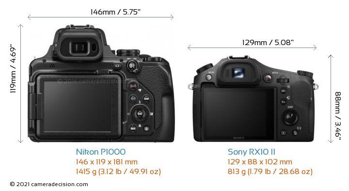 Nikon P1000 vs Sony RX10 II Camera Size Comparison - Back View