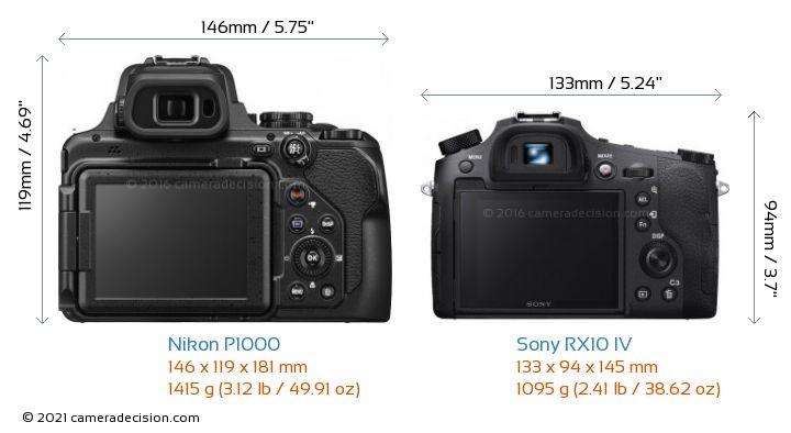 Nikon P1000 vs Sony RX10 IV Camera Size Comparison - Back View