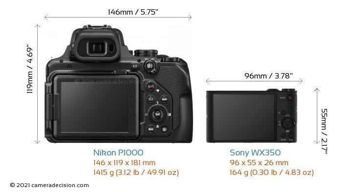 Nikon P1000 vs Sony WX350 Camera Size Comparison - Back View