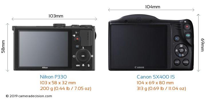 Nikon P330 vs Canon SX400 IS Camera Size Comparison - Back View