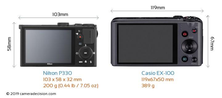 Nikon P330 vs Casio EX-100 Camera Size Comparison - Back View