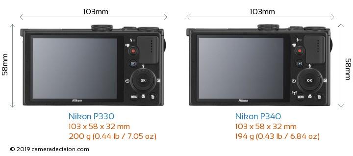Nikon P330 vs Nikon P340 Camera Size Comparison - Back View