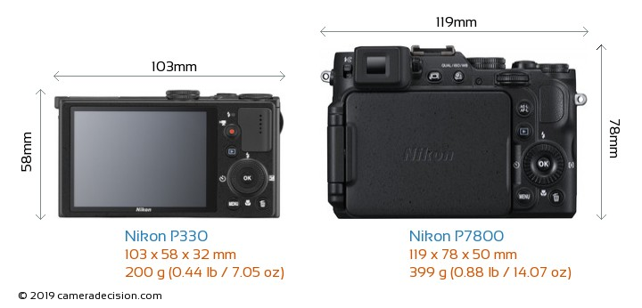 Nikon P330 vs Nikon P7800 Camera Size Comparison - Back View