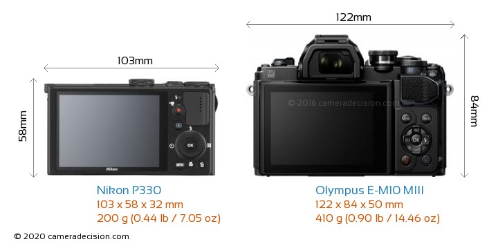 Nikon P330 vs Olympus E-M10 MIII Camera Size Comparison - Back View