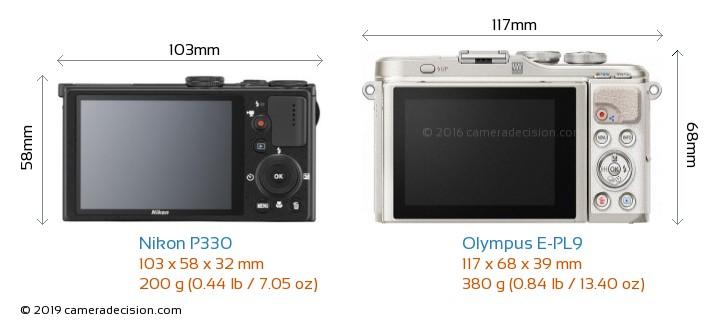 Nikon P330 vs Olympus E-PL9 Camera Size Comparison - Back View