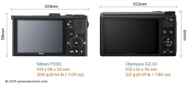 Nikon P330 vs Olympus XZ-10 Camera Size Comparison - Back View