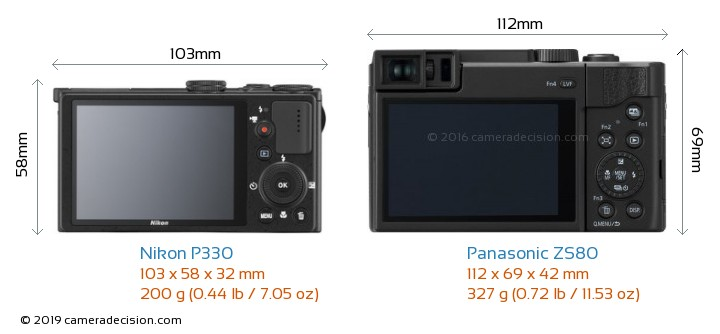 Nikon P330 vs Panasonic ZS80 Camera Size Comparison - Back View