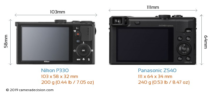 Nikon P330 vs Panasonic ZS40 Camera Size Comparison - Back View
