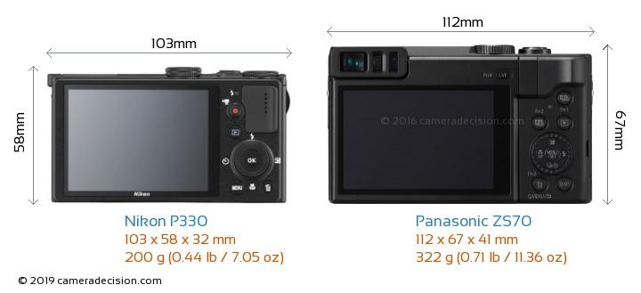 Nikon P330 vs Panasonic ZS70 Camera Size Comparison - Back View