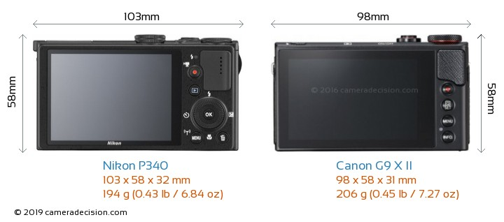 Nikon P340 vs Canon G9 X II Camera Size Comparison - Back View