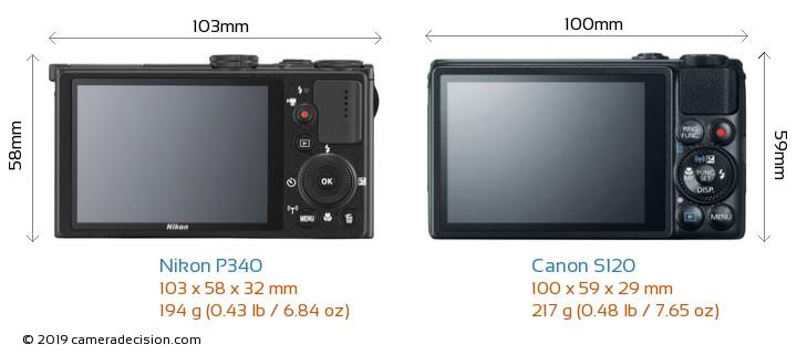 Nikon P340 vs Canon S120 Camera Size Comparison - Back View