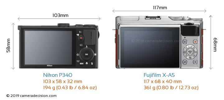 Nikon P340 vs Fujifilm X-A5 Camera Size Comparison - Back View