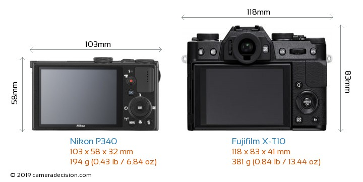Nikon P340 vs Fujifilm X-T10 Camera Size Comparison - Back View