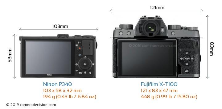 Nikon P340 vs Fujifilm X-T100 Camera Size Comparison - Back View