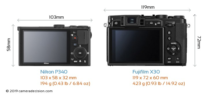 Nikon P340 vs Fujifilm X30 Camera Size Comparison - Back View