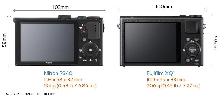 Nikon P340 vs Fujifilm XQ1 Camera Size Comparison - Back View