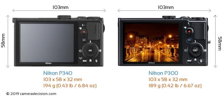 Nikon P340 vs Nikon P300 Camera Size Comparison - Back View