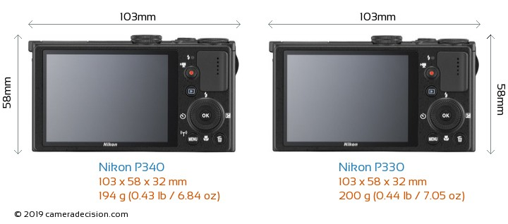 Nikon P340 vs Nikon P330 Camera Size Comparison - Back View