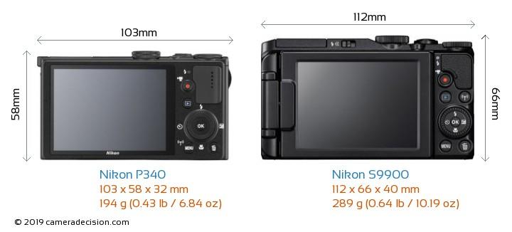 Nikon P340 vs Nikon S9900 Camera Size Comparison - Back View