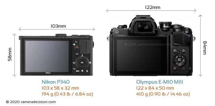 Nikon P340 vs Olympus E-M10 MIII Camera Size Comparison - Back View