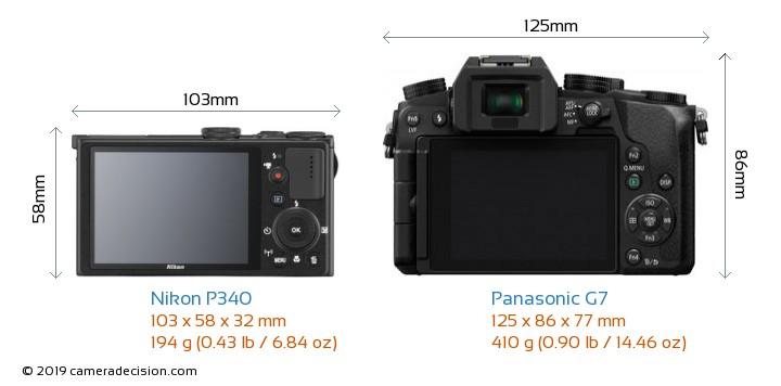 Nikon P340 vs Panasonic G7 Camera Size Comparison - Back View