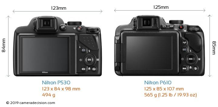Nikon P530 vs Nikon P610 Camera Size Comparison - Back View