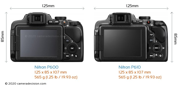 Nikon P600 vs Nikon P610 Camera Size Comparison - Back View